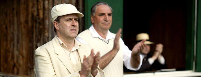 Molesley and Carson at cricket match