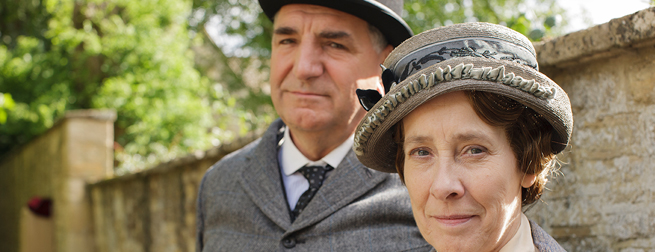 Jim Carter and Phyllis Logan as Carson and Mrs. Hughes