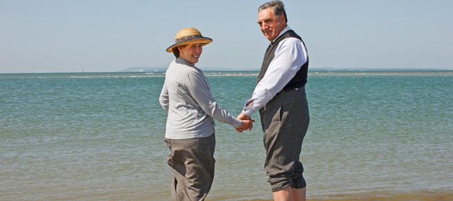 Carson and Mrs. Hughes at the beach